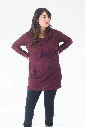 טוניקה להריון והנקה - סריג גל בצבע אדום