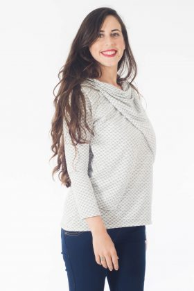 Breast Feeding Blouse – Gilat – White with Hearts