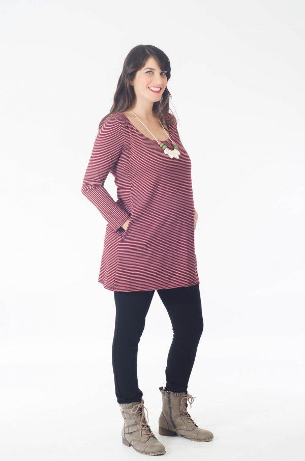 טוניקה להריון לנה בצבע בורדו פסים