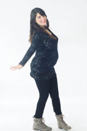 חולצת הריון – שירה שחור מודפס