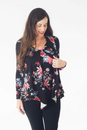 Breast Feeding Blouse - Sharon - Black with Flowers