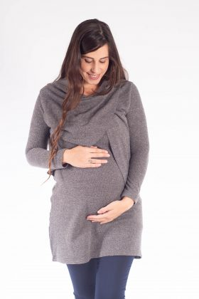 טוניקה להריון – סריג גל אפור