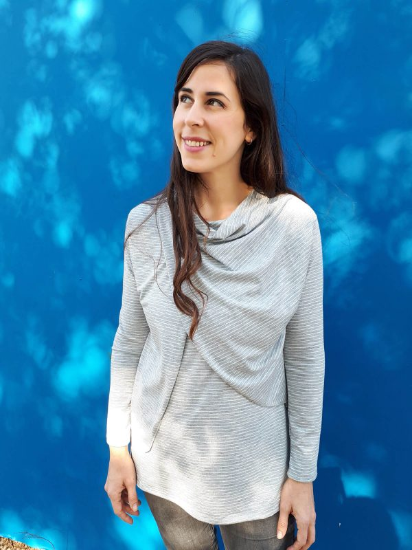 חולצת הנקה - גילת אפור פסים