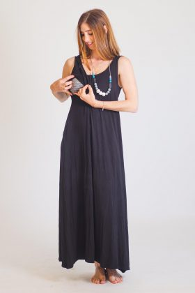 Breast Feeding Dress – Anna – Black