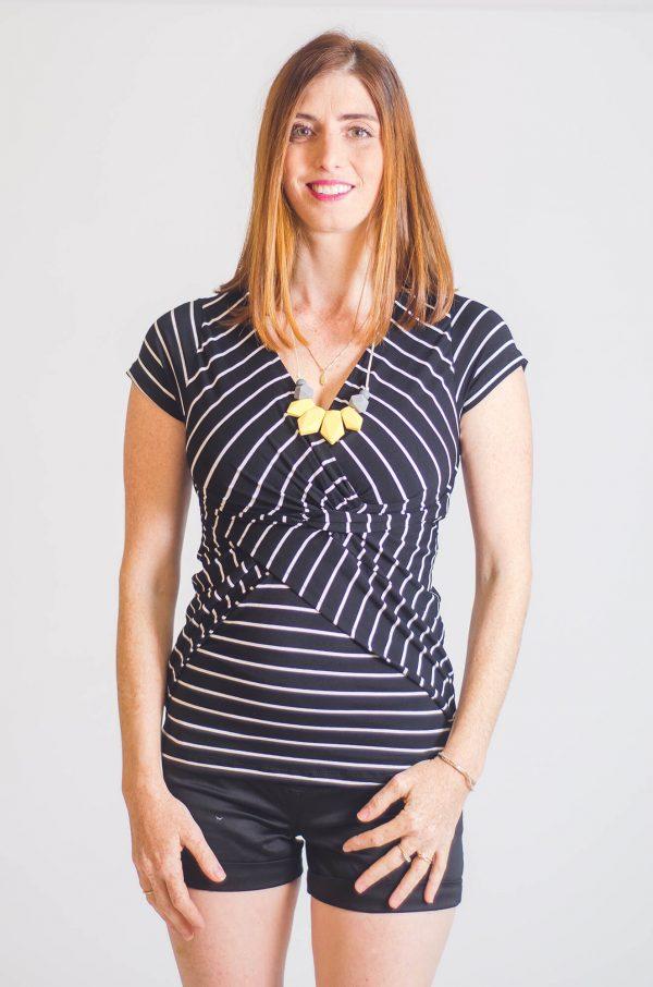 Maternity Blouse - Dana - Black Strips