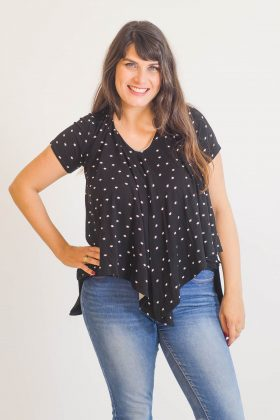 Breast Feeding Blouse – Sharon – Black with Stars