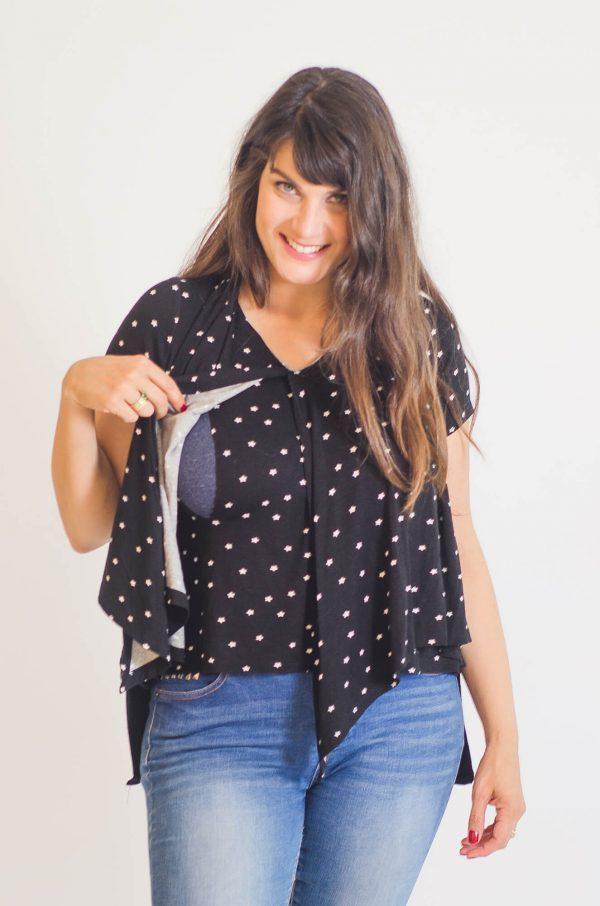 Breast Feeding Blouse - Sharon - Black with Stars