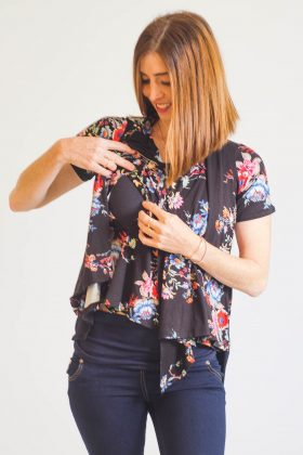 Breast Feeding Blouse – Sharon – Black with Flowers