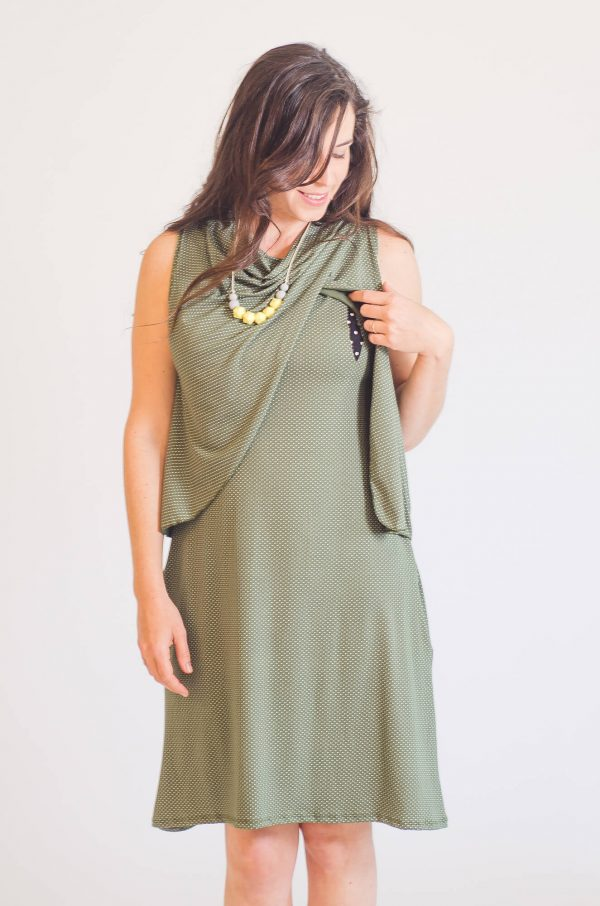 Breast Feeding Dress - Meital - Olive