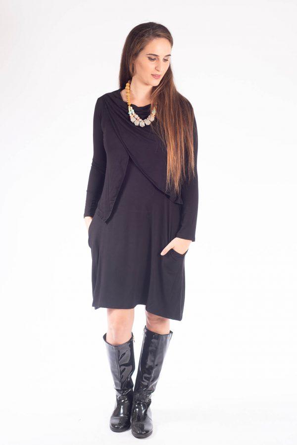 שמלת הנקה - אפרת שחור שרוול ארוך