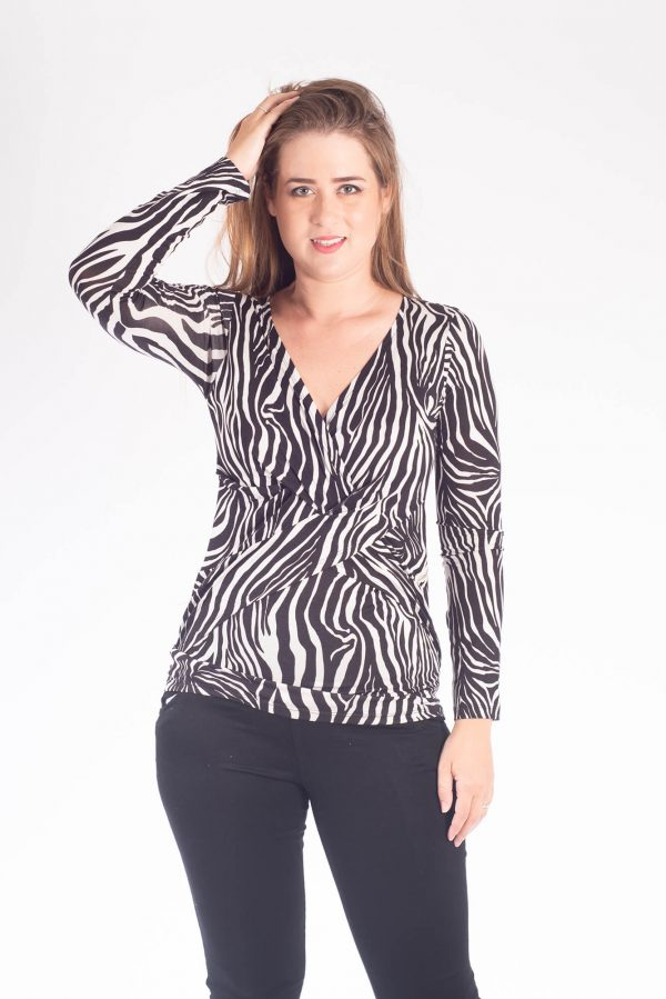 Breast Feeding Blouse - Dana - Black & White