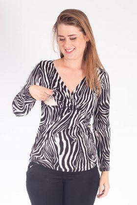 Breast Feeding Blouse – Dana – Black & White
