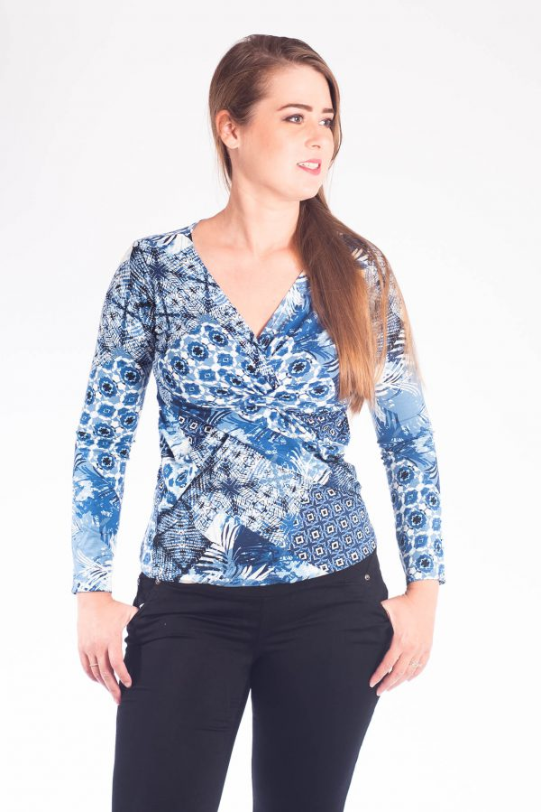 Breast Feeding Blouse - Dana - Blue Printed