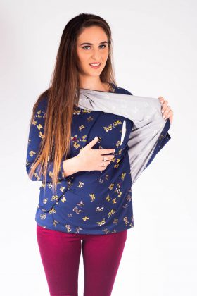 Breast Feeding Blouse – Gilat – Blue with Butterflies