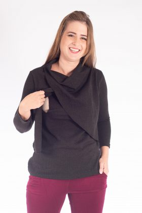 Breast Feeding Knit Blouse – Gilat – Black