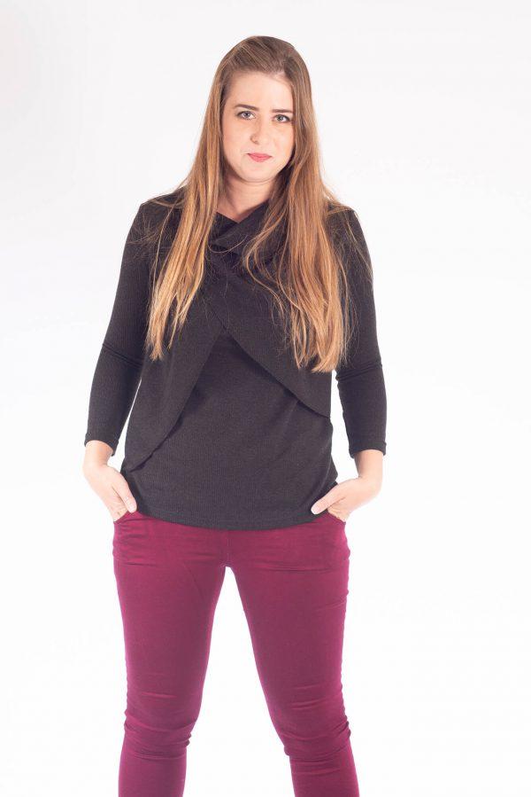 חולצת הנקה - גילת סריג שחור