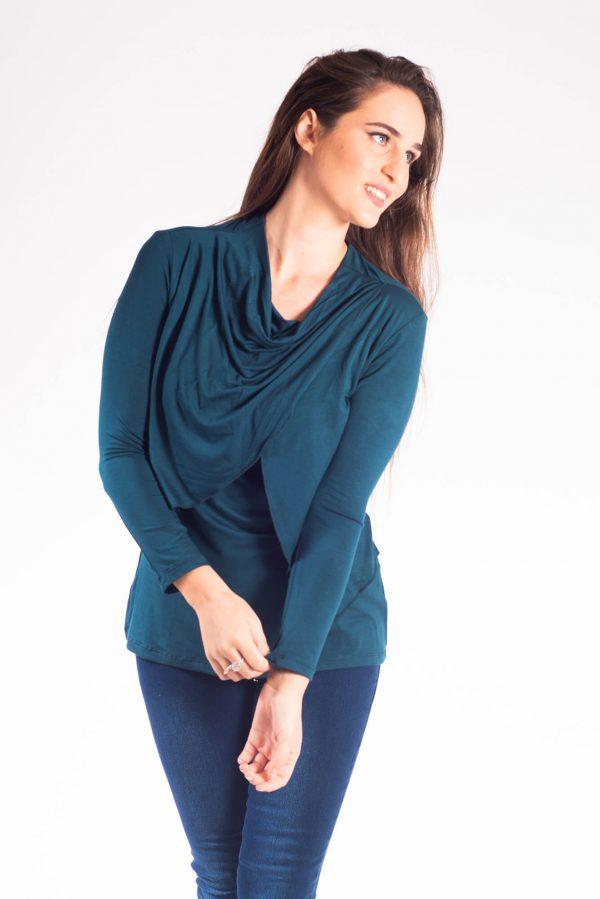 Breast Feeding Blouse - Gilat -Turquoise