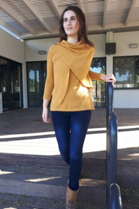 Maternity & Breastfeeding Knit Blouse – Gilat -Yellow