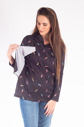חולצת הנקה – גילת שחור נוצות