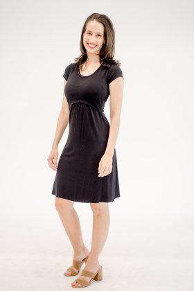 שמלת הנקה – מאיה שחור שרוול קצר