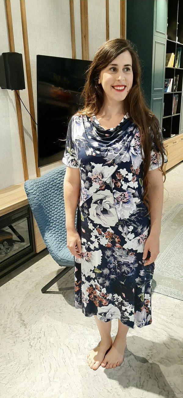 שמלת הנקה - אפרת כחול מודפס