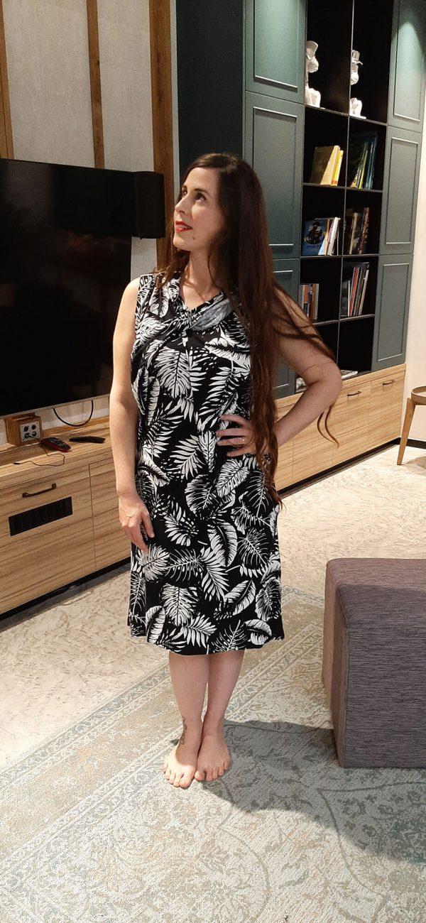 שמלת הנקה - מיטל שחור לבן