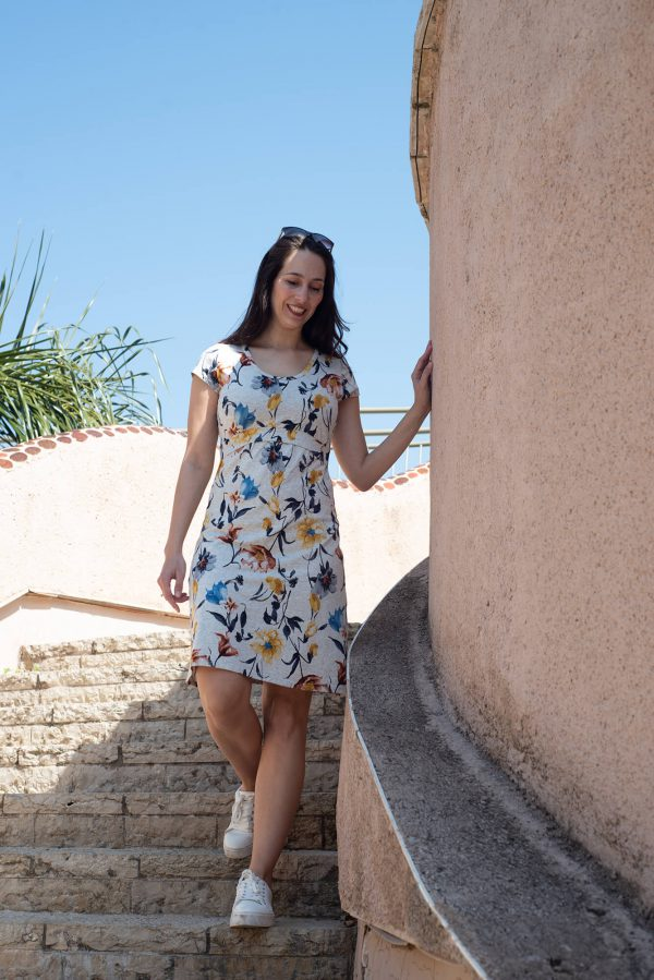 שמלת הריון - מאיה אפור מודפס