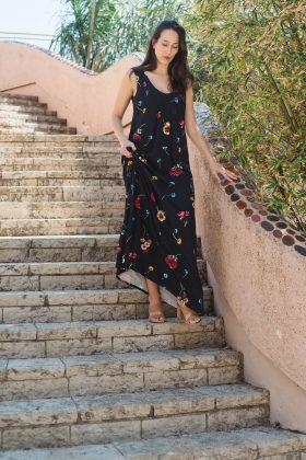 שמלת הנקה – אנה שחור מודפס