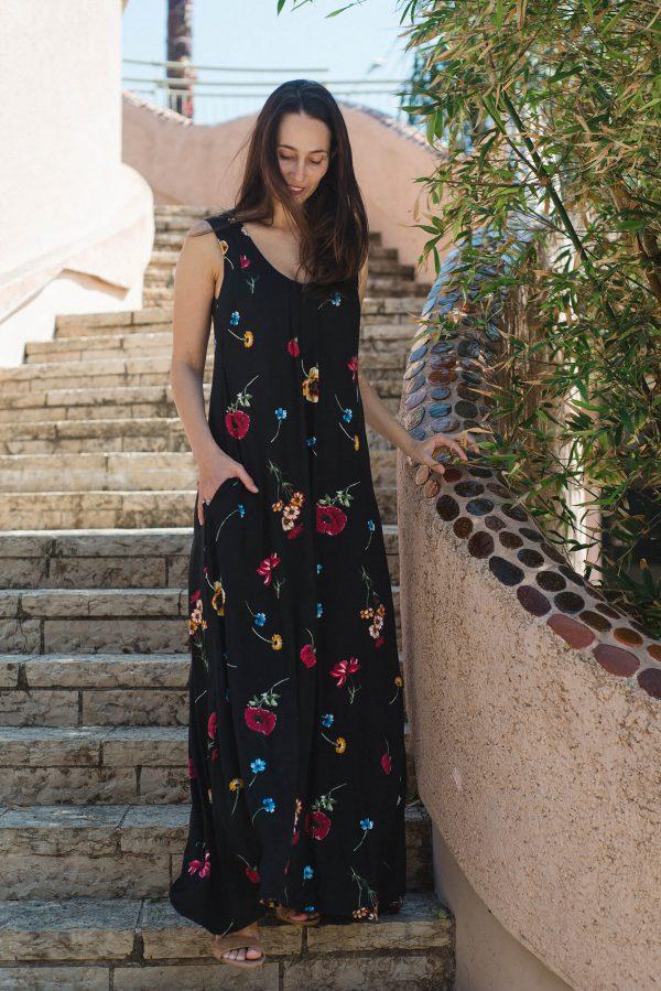 שמלת הנקה והריון - אנה שחור מודפס