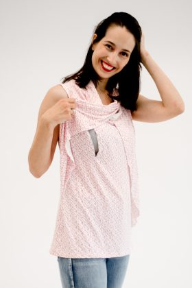 Breast Feeding Tank Top – Inbar – Pink & White