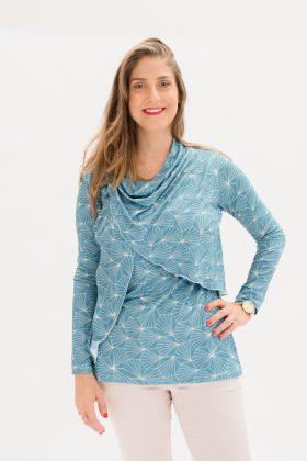 חולצת גילת טורקיז גאומטרי