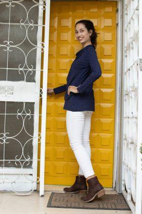 חולצת הנקה – גילת כחול מנוקד