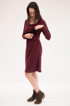 שמלת הריון והנקה- איילת סריג בורדו