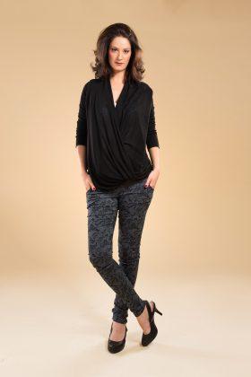 מכנס הריון סקיני כותנה אפור עם הדפס שחור