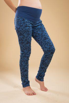 מכנס הריון סקיני כותנה כחול עם הדפס