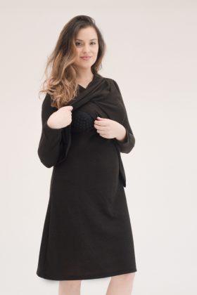 שמלת אפרת שחור בד סריג