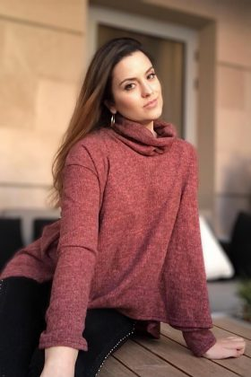 Roni cowl necklined knitwear red