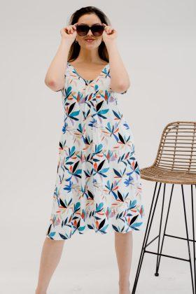 שמלת אילנה לבן הדפס