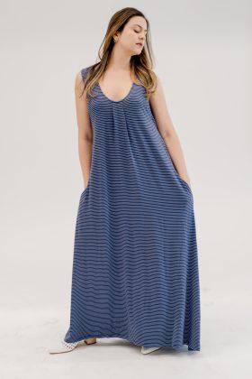 שמלת אנה כחול פסים