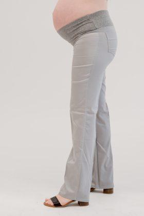 מכנס הריון כותנה גזרה ישרה אפור