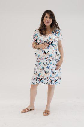 שמלת הריון אילנה לבן הדפס
