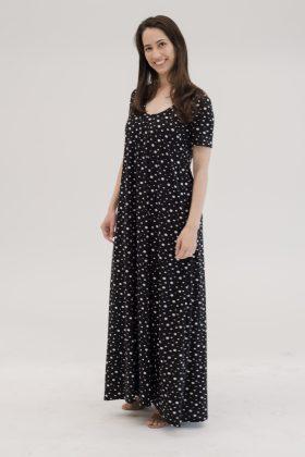 שמלת לאו- מקסי שחור נקודות