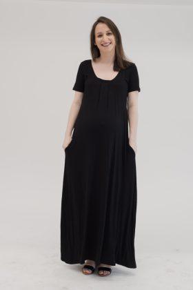 שמלת לייה- מקסי הריון והנקה שחור