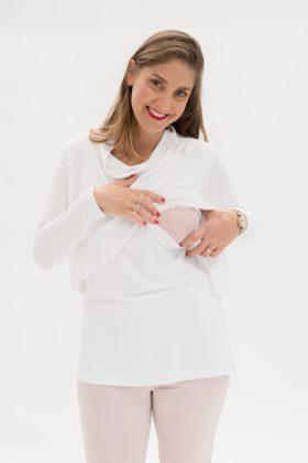חולצת גילת לבן מבד פיקה