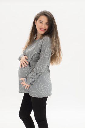 חולצת הריון דריה אפור מודפס